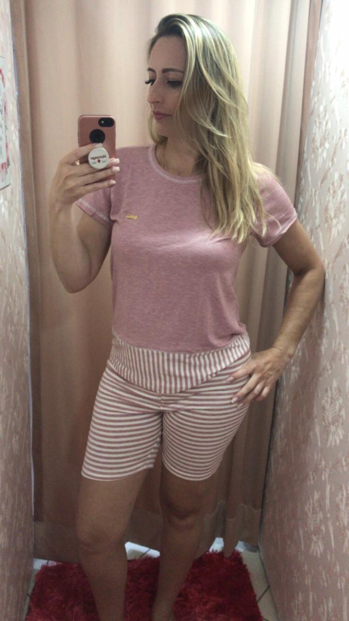 Pijama 3805 Blusa C/bermuda Listrada
