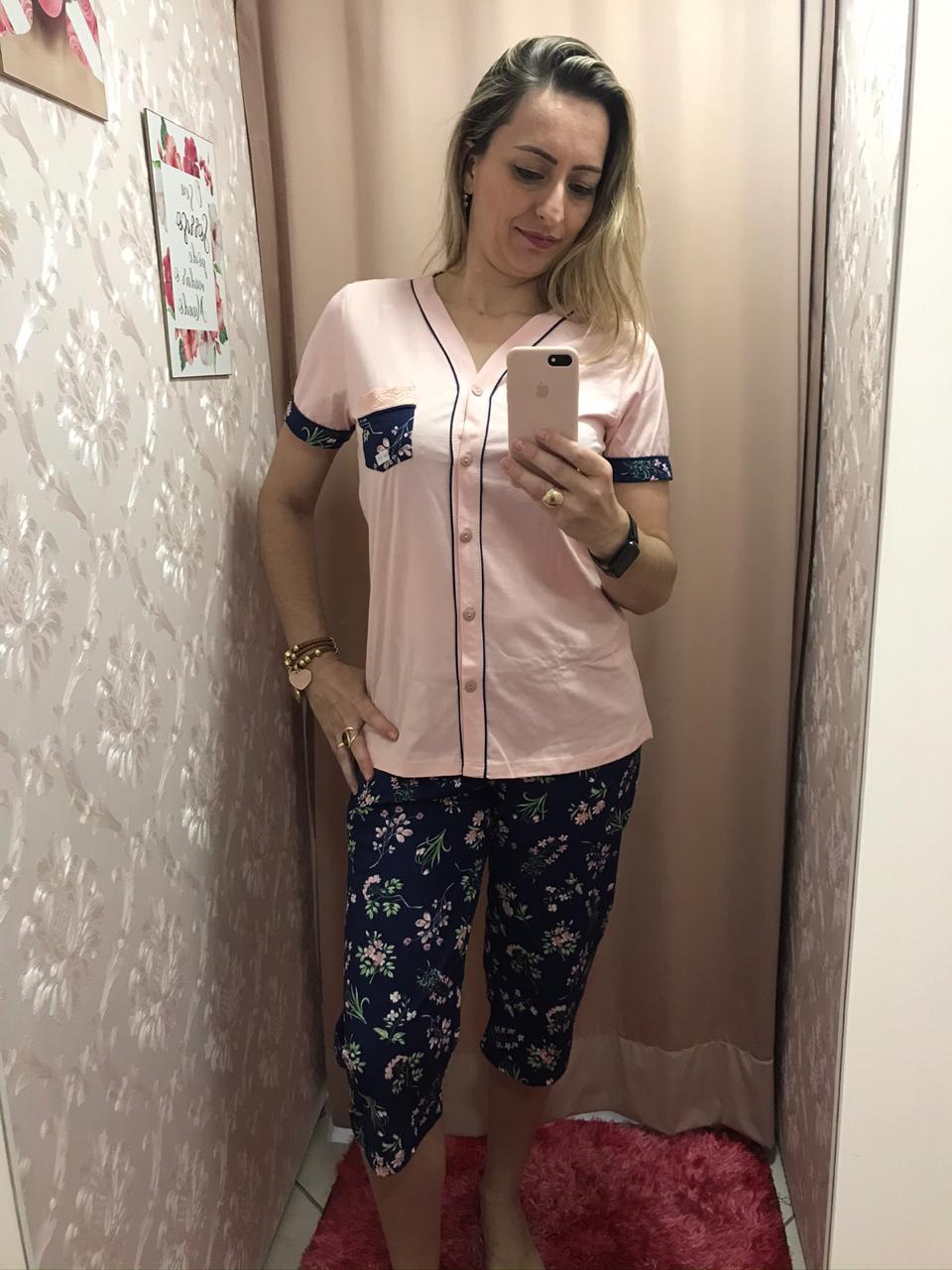 Pijama 6501 Pescador Camisa Botao (Lua Cheia)