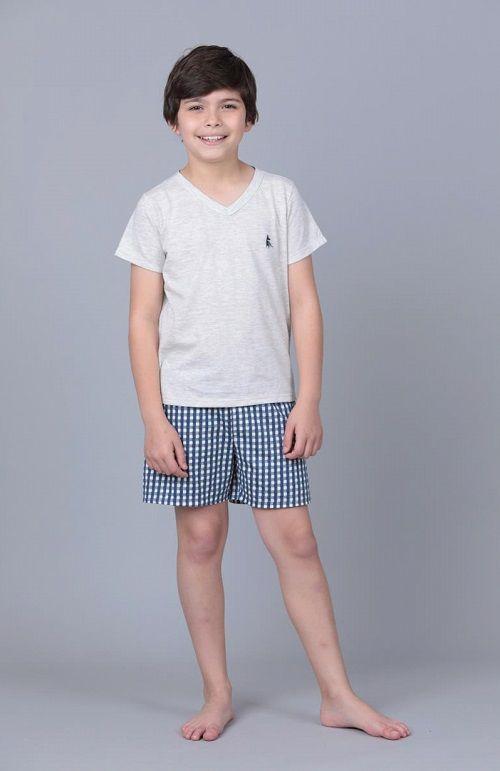Pijama 7409/7410 Inf/juv C/ Short Xadrez ( Lua Cheia)