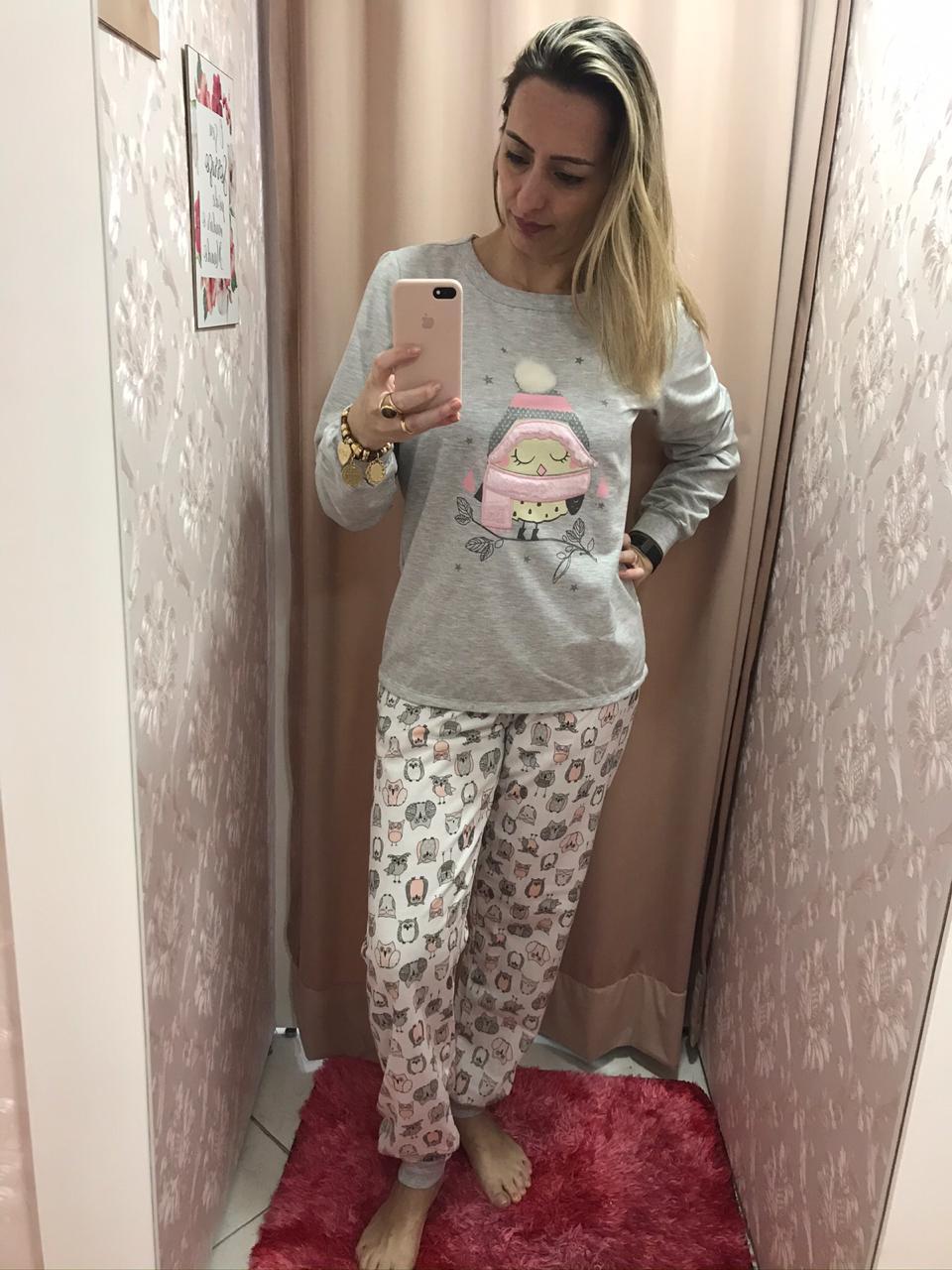Pijama 9074 Manga Longa E CalÇa Coruja (lua Cheia)