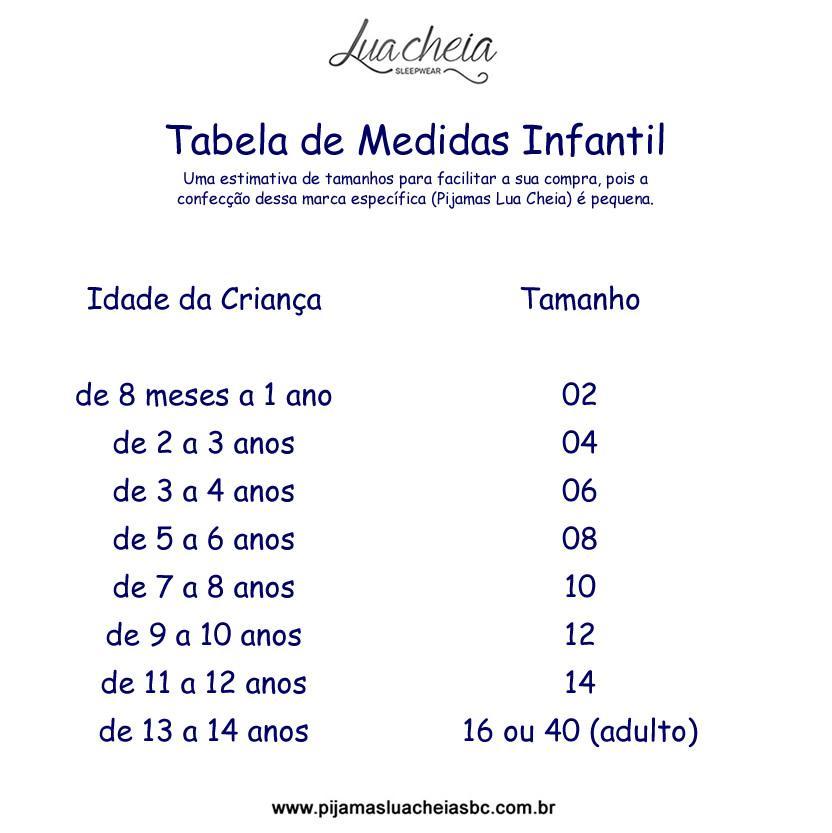 Pijama 9313/9314 Ursinho Inf/juv Mae E Filha (Lua Cheia)