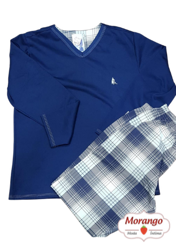 Pijama 9438 Masc. Moletinho Xadrez