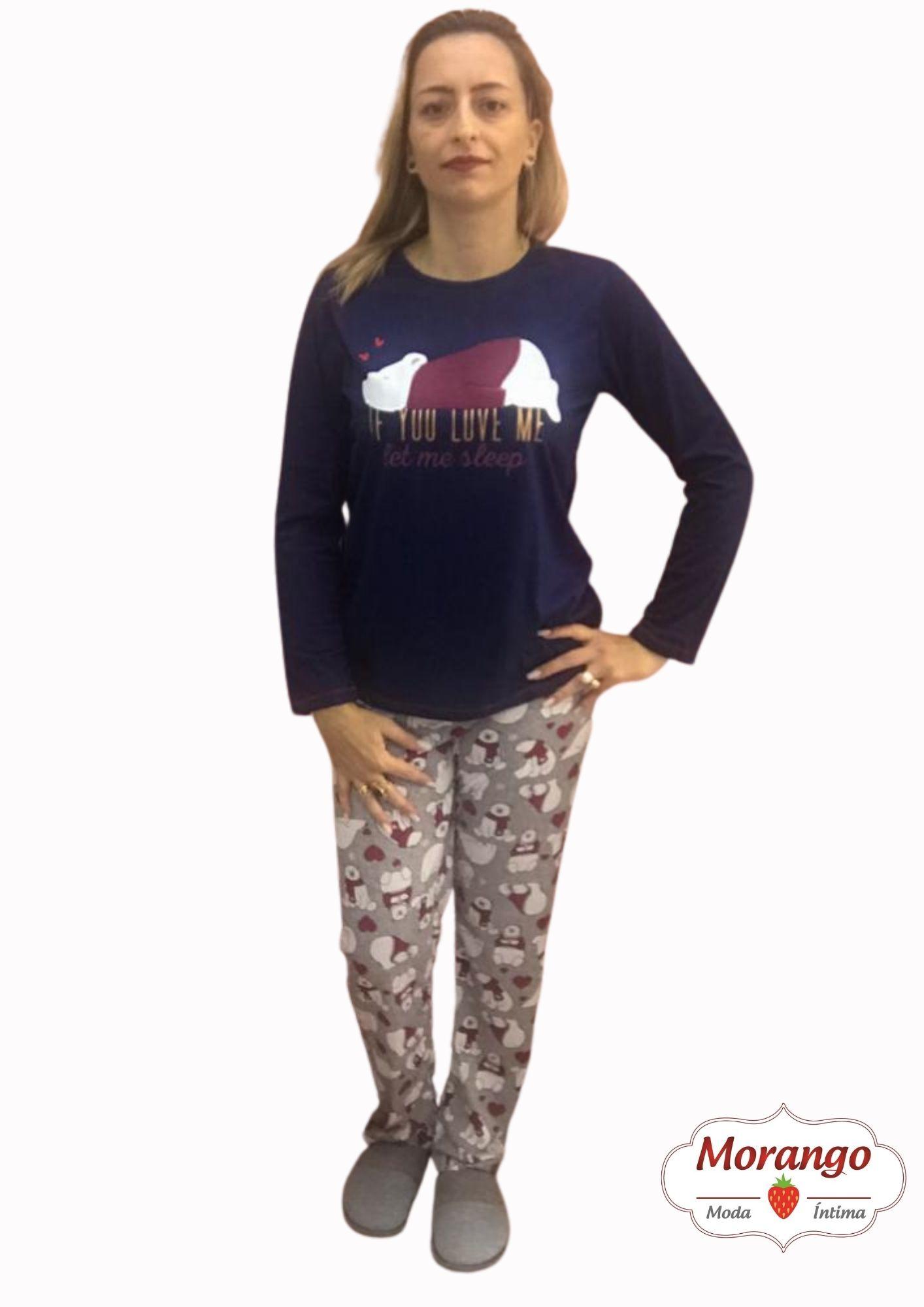 Pijama 9648 Manga Longa E CalÇa Urso CoraÇÃo