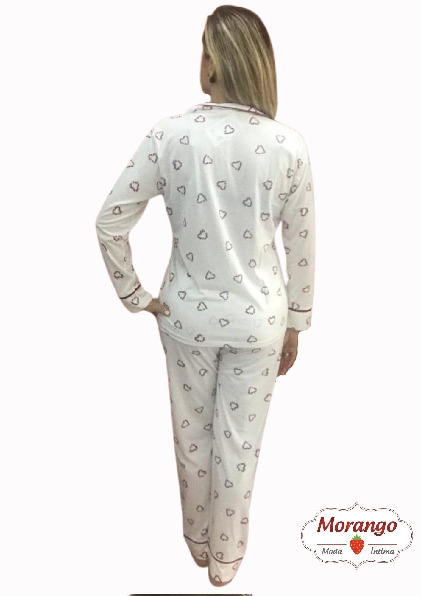 Pijama 9649 Manga Longa E CalÇa Aberto CoraÇao