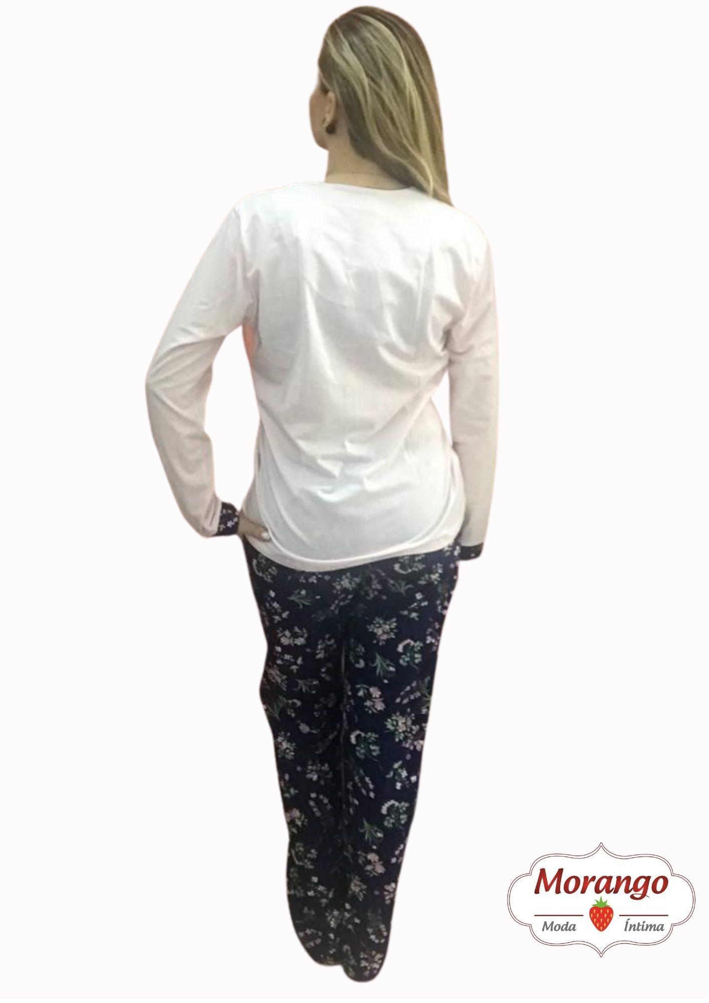 Pijama 9662 Manga Longa E CalÇa Aberto