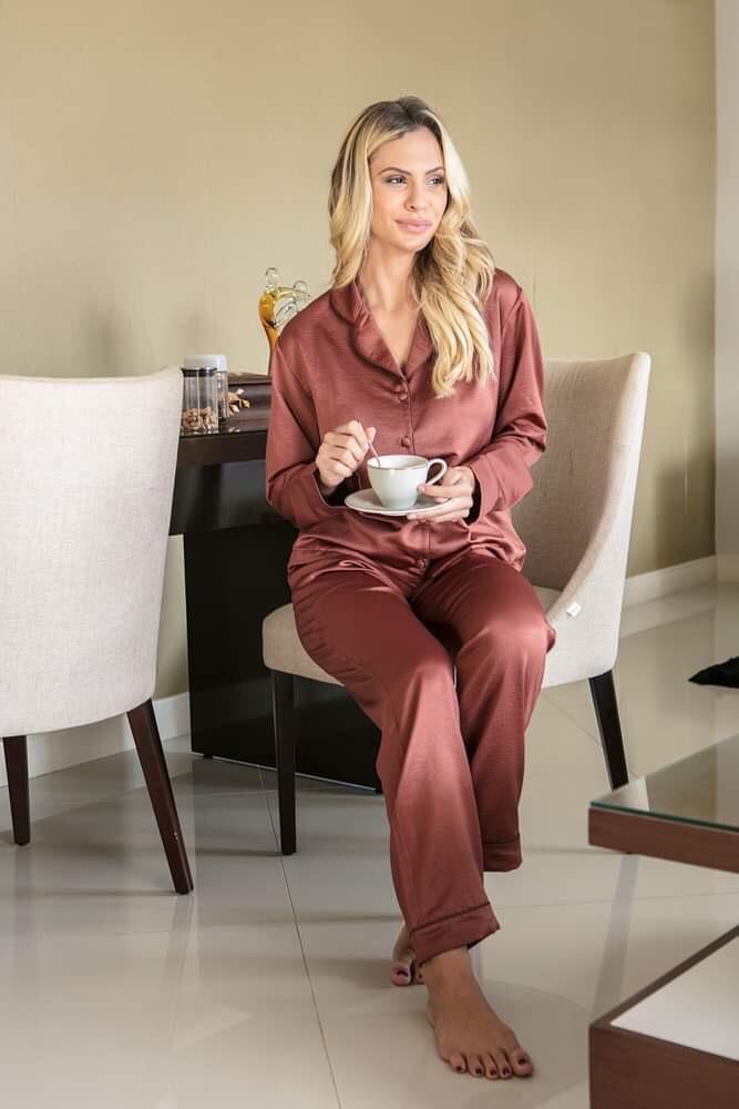 Pijama Manga Longa Em Cetim (royal Rest)