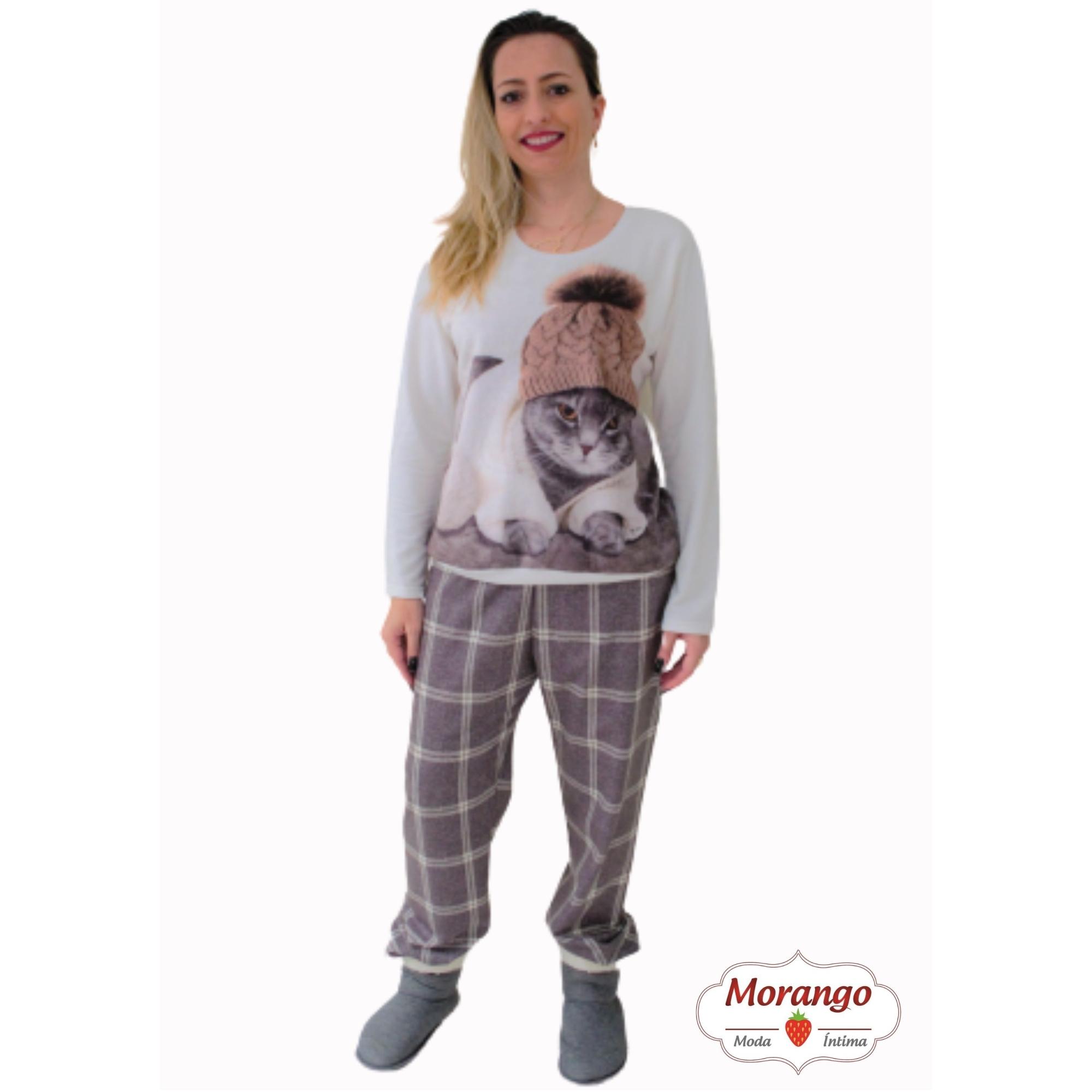 Pijama 1078 Pelucia Gato CalÇa Xadrex