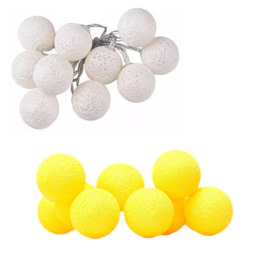 Kit com 02  Cordãos de Luz de LED Bolinhas - Branco e Amarela