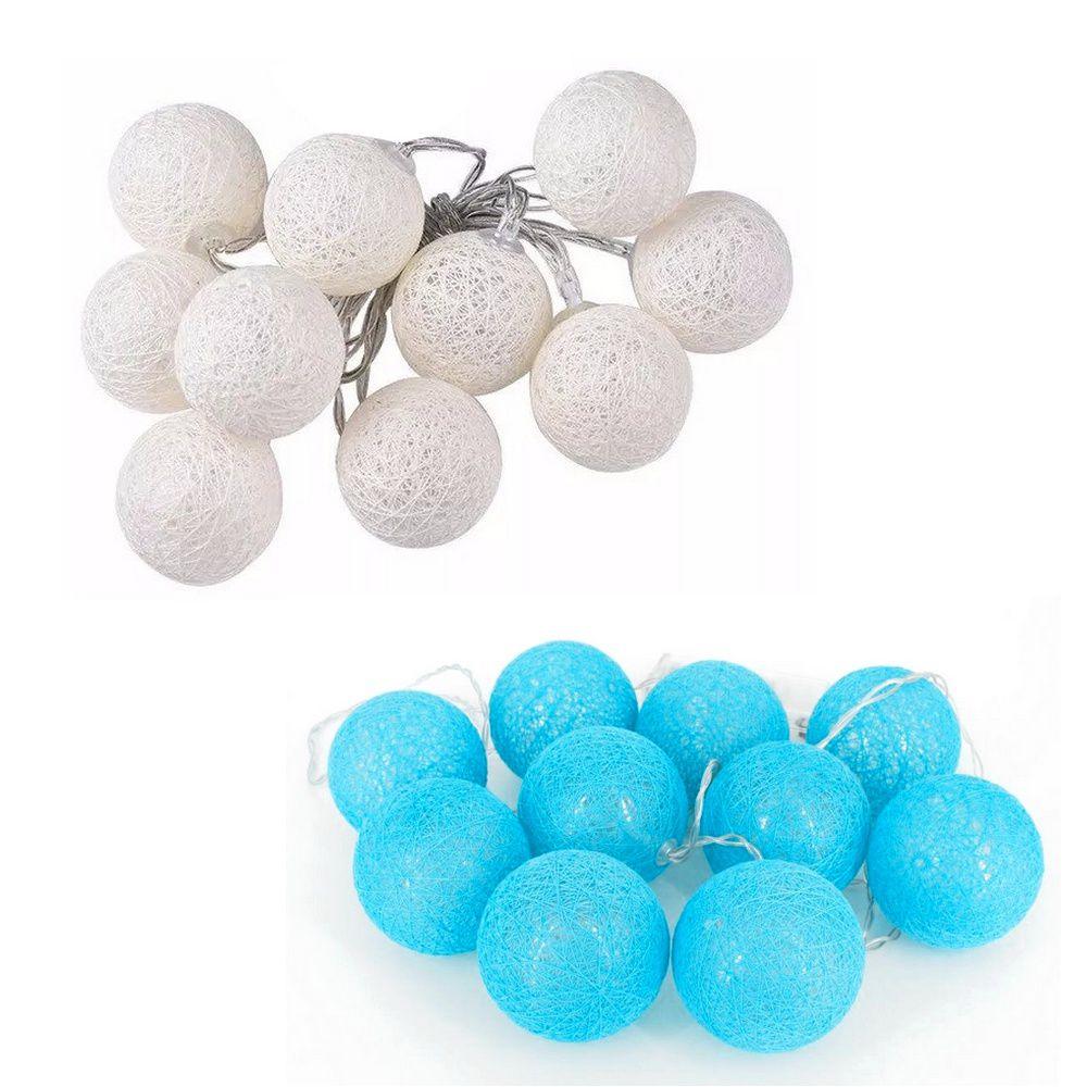 02 Kits de Cordão de Luz de LED Bolinhas - Branco e Azul