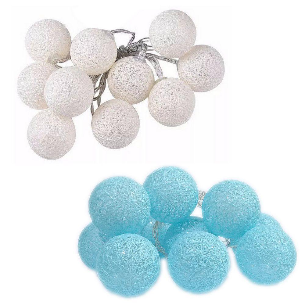 Kit com 02 Cordões de Luz de LED Bolinhas - Branco e Azul Bebê