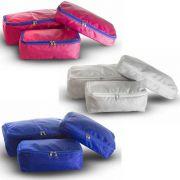 03 Kits Organizadores de Malas - 03 Peças (Rosa, Cinza e Azul)
