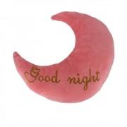 Almofada Lua - Good Night (rosa Com Letra Marrom)