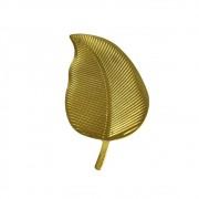 Bandeja Decorativa De Madeira Folha Dourado 33cm