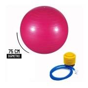 Bola Pilates Yoga Abdominal Ginastica 75cm Com Bomba - Rosa
