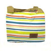 Bolsa Térmica Marmita Pequena  Fundo Branco com listras coloridas Amarela