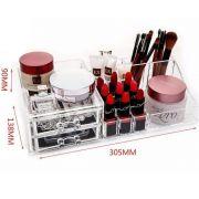 Caixa Acrílico Organizador Pincel Maquiagem Joias 2 Gavetas ns1532