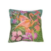 Capa Almofada Dois Flamingos Tropical Fundo Azul 43x43cm