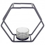 Castiçal para Velas com 01 Compartimento - Preto - Hexágonal