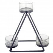 Castiçal para Velas com 03 Compartimentos - Preto - Triângulo