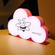 Luminária Nuvem Escrever Light Box Porta Recado +3 Canetas- Rosa