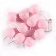 Cordão de Luz de LED 10 Bolinhas LISA a Pilha Rosa Bebe