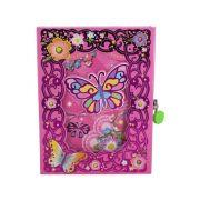 Diário com Cadeado - Borboleta e Flores - Rosa Pink