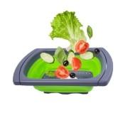 Escorredor Retrátil Silicone Salada Macarrão Dobrável Verde