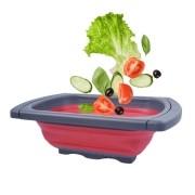 Escorredor Retrátil Silicone Salada Macarrão Dobrável Verm