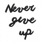 Frase Decorativa em MDF Preto - Never Give Up