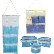 Kit 05 Organizadores Multiuso - Azul Claro Bolinhas Branca