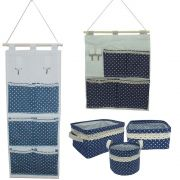 Kit 05 Organizadores Multiuso - Azul Marinho Bolinhas Branca