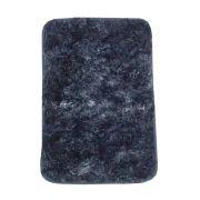 Kit 03 Tapetes para Banheiro Felpudo Azul Marinho com Branco