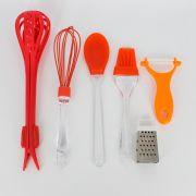 Kit 06 utensílios de cozinha - Vermelho