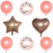 Kit 08 Balões Buque Látex/Metalizado - Rose Gold
