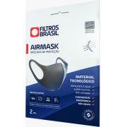 Kit 2 Máscaras de Proteção Facial AirMask Lavável Reutilizável Alta Tecnologia Filtração  Cinza M