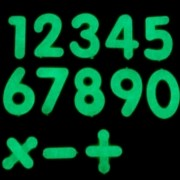 Kit 40 Adesivos Que Brilham No Escuro Números Simbolos Mat. Azul