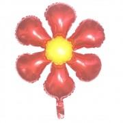 Kit 5 Balões Metalizado - Flor Vermelha (55x70cm)