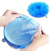 Kit 6 Super Tampas de Potes de Silicone Universal - Azul
