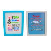 Kit 02 Quadros Decorativos Azul Claro Branco Vida Boa e Amar 25x25