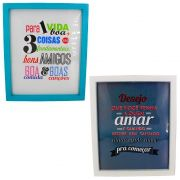 Kit 02 Quadros Decorativos Azul Claro e Branco - Vida Boa e Amar 30x25