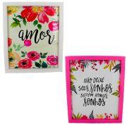 Kit 02 Quadros Decorativos Branco e Rosa - Amor e Sonhos 30x25