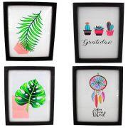 Kit 04 Quadros Decorativos Costela de Adão, Palmeira, Cacto e Filtro dos Sonhos - Moldura Preta 30x25