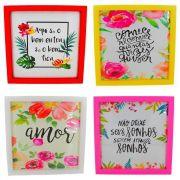 Kit 04 Quadros Decorativos - Vermelho, Amarelo, Branco e Rosa - 25x20