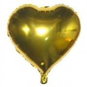 Kit com 10 Balões Metalizado - Coração Dourado (61cm)