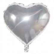 Kit com 10 Balões Metalizado - Coração Prata (46cm)