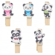 Kit com 10 Mini Prendedores Decorados - Panda