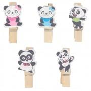 Kit com 10 Mini Prendedores Decorados - Panda