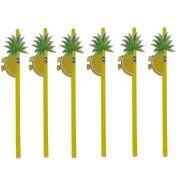 Kit com 12 Canudos de Papel Decorativo - Abacaxi Amarelo