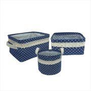 Kit com 3 Cestos Organizadores Azul Marinho com Sustentação