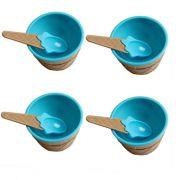 Kit com 4 Taças de Sorvete Plástico com Colher Azul